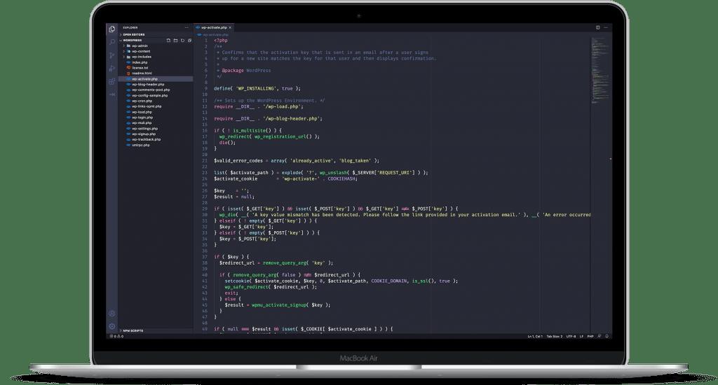 Mockup do Visual Studio Code